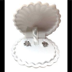 🆕925 Sterling silver lucky clover stud earrings